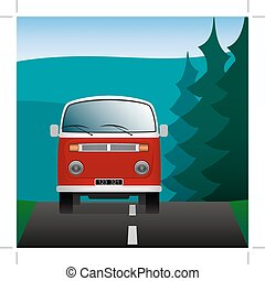Minibus on a forest road. Transport in the landscape. Vector Image.