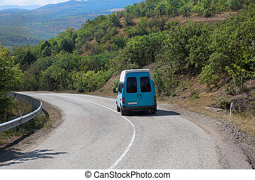 minibus on road in Crimea
