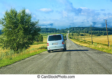 minibus on the country highway