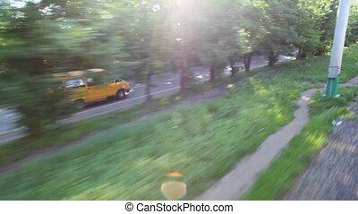 minibus, route, fenêtre voiture, aller, en mouvement, vue