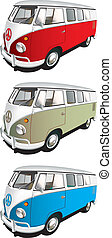 Vectorial icon set of minibus isolated on white backgrounds. Every minibus is in separate layers. File contains gradients and blends.