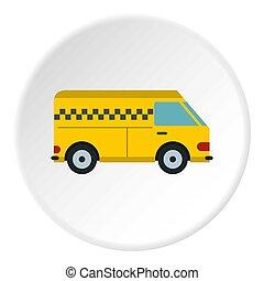 Minibus taxi icon, flat style