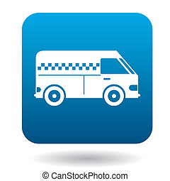 Minibus taxi icon in flat style