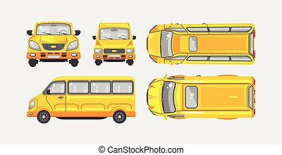 Minibus top, front, side view