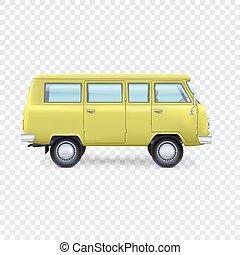 minibus, transparent, fond