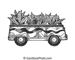 Minibus van with weed cannabis leaf engraving vector...