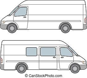 minibus., vecteur, illustration