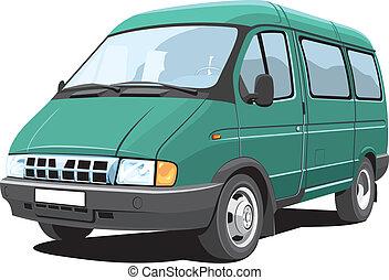 Minibus - Vector isolated minibus, passenger and cargo,...