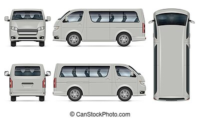 Minibus vector mockup. Isolated vehicle template side, front, back, top view