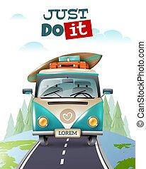 minibus, viagem, viagem, fundo