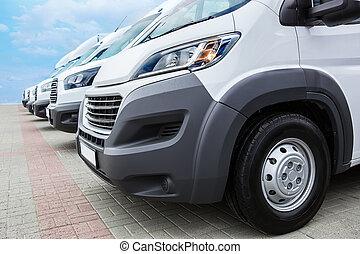 minibuses, und, lieferwagen, draußen