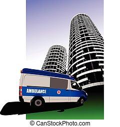 minibusz, út, mentőautó
