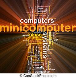 minicomputer, woord, wolk, doosje, verpakken