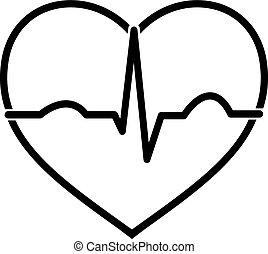 minimális, fekete-fehér, szív, ecg, ikon