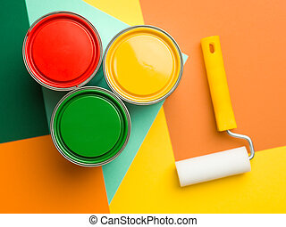 minimal abstract composition - three cans yellow green and ...