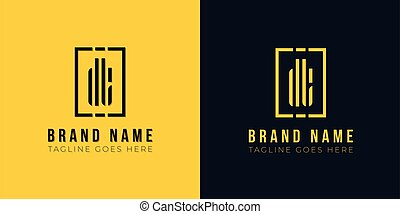 Minimal abstract initial letter DT logo. This icon incorporate with abstract rectangle shape and typeface in the creative way. This design in yellow and black background.