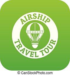 Minimal air balloon icon green vector