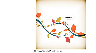 Minimal autumn floral abstract background