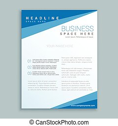 minimal blue brochure design poster template in clean style