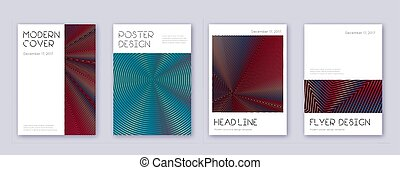Minimal brochure design template set. Red abstract lines on ...