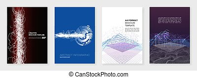 Minimal brochure templates. Big data visualization with lines and dots. Technology sci-fi concept, abstract vector design. Templates for flyer, leaflet, brochure, report, presentation, advertising