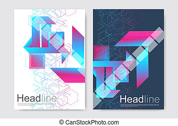 Minimal brochure templates, magazine, leaflet, flyer, cover, booklet, annual report, banner. Modern futuristic virtual abstract background.