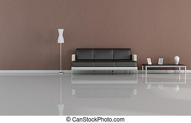 minimal brown living room - digital artwork