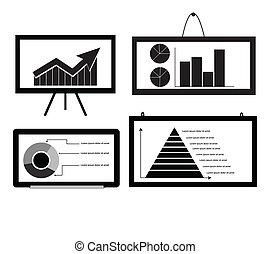 Minimal Cart ,bar Chart ,Arrow Chart Pie Chart ,Pyramid Chart on board for graphic vector eps10