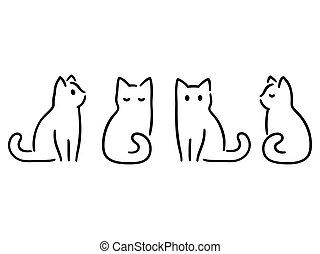 Minimal cat drawing - Minimalist cats drawing set. Cat ...