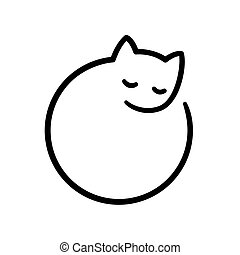 Minimal cat logo - Minimal sleeping cat illustration,...