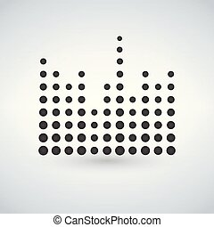 Minimal circle Sound waves in black isolated icon, vector illustration.