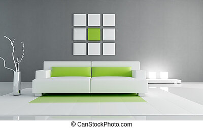 living room - minimal contemporary living room - rendering