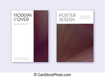 Minimal cover design template set. Gold abstract lines on ...