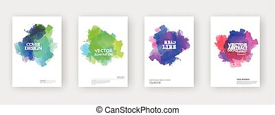 Minimal covers design. Cool paint elements. Vector...