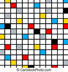 Minimal De Stijl Retro Mosaic Color Composition