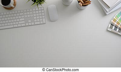 Minimal designer workspace with computer