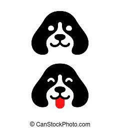 Cute minimal dog head logo, smiling and sticking out tongue. Simple puppy icon vector illustration.