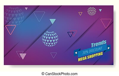 Minimal geometric background with trendy ribbon and arrow globes. Vector Dynamic shapes composition for sale and shopping poster.