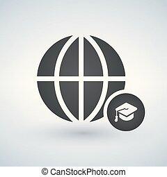 minimal globe icon with graduation cap in circle, vector illustration