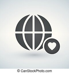 minimal globe icon with heart in circle, vector illustration