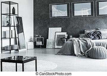Minimal gray bedroom design