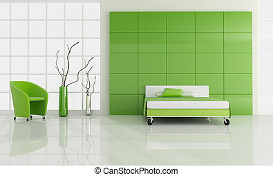 minimal green bedroom