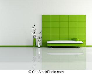 minimal green living room with sofa panel and vase - digital artwork
