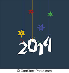 Minimal Happy New Year background with colorful origami...