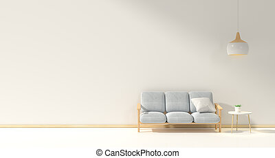 minimal interior design room with sofa, low table, Decoration plant and japan style design Hanging lamp light in wall.3D rendering interior design. Modern living room Japanese style.3D rendering