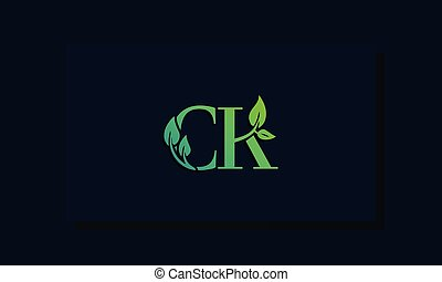 Minimal leaf style Initial CK logo. This logo incorporate ...