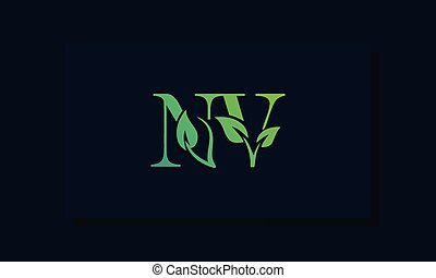 Minimal leaf style Initial NV logo. This logo incorporate with leaf and two letter in the creative way. It will be suitable for ECO, green, nature, growth and herbal related Brand or company.