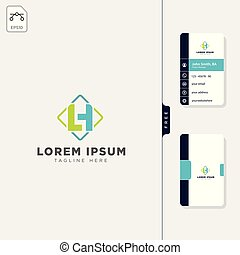 minimal LH initial logo template vector illustration free...