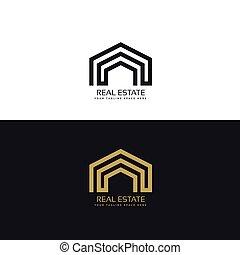minimal line real estate logo design concept