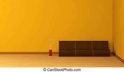 minimal living room - one 3d render of an empty room with a...